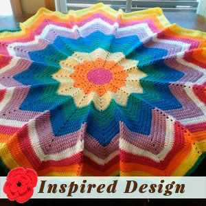 Olivia's Rainbow 12 Point Star Afghan by Jane E.
