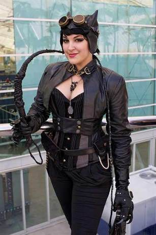 Steampunk Catwoman cosplay. Women's steampunk costumes. Who wore it best?