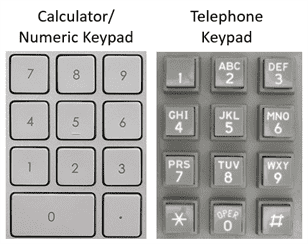 Calculator Keypad vs Telephone Keypad