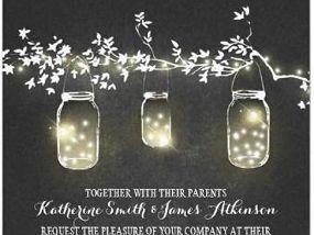 Miriam Kokolo Fairy Lights Mason Jars Rustic Wedding Invitations